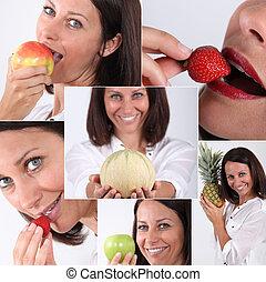 fotomontaggio, donna mangia, frutta