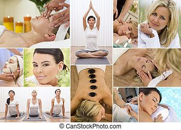 fotomontaggio, donne rilassando, a, terme salute