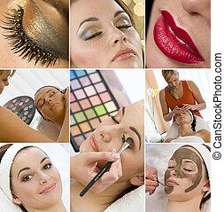 fotomontaggio, donne, truccare, trattamento, a, terme salute