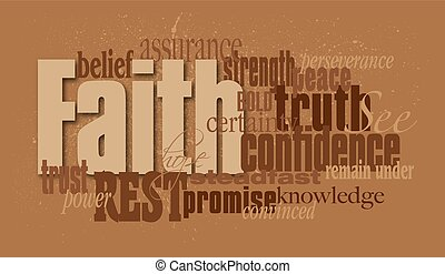 fotomontaggio, fede, grafico, parola
