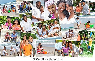 fotomontaggio, felice, etnico, famiglia, genitori, &, bambini, vacanza