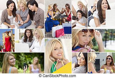 fotomontaggio, modo vivere moderno, femmina, donne