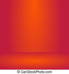 fotomontaggio, o, colorare, beffare, sfondo., prodotto, affari, arancia, vuoto, su, fondo, mostra, rosso, stanza, studio