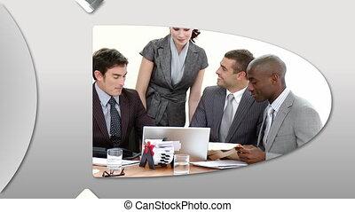 fotomontaggio, presentare, businessteam