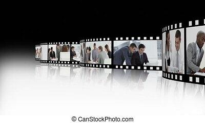 fotomontaggio, presentare, parecchi, affari