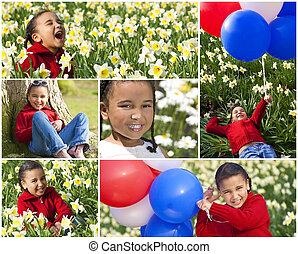 fotomontaggio, ragazza, mescolato, felice, americano, africano, corsa