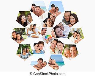 fotomontaggio, spendere, amanti, insieme, tempo
