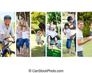 fotomontaggio, spendere, famiglia, insieme, tempo