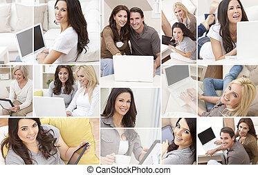 fotomontaggio, tavoletta, persone, computer portatile, usando, casa