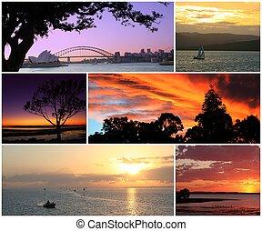 fotomontaggio, tramonto, alba, &