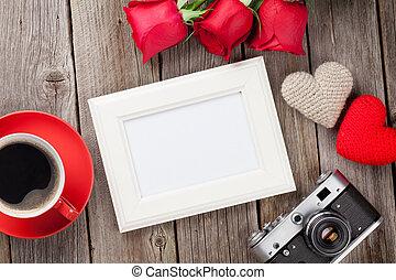 fotorahmen, rosen, und, valentinestag, herzen