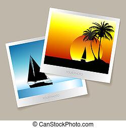 fotos, conjunto, colorido, vacaciones