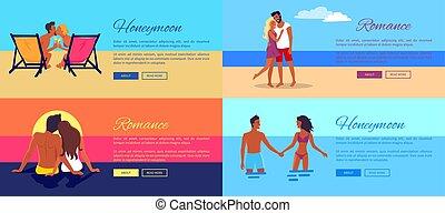 fotos, de, parejas felices, el vacaciones, en, playa