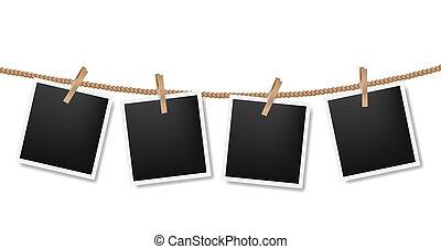 foto's, koord, witte achtergrond