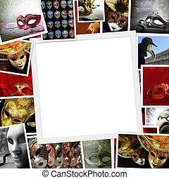 foto's, kopie, verzameling, carnaval, ruimte