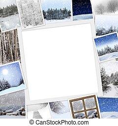 foto's, kopie, winter, verzameling, ruimte