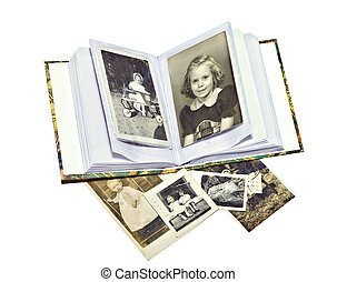 fotos, libro, viejo, familia