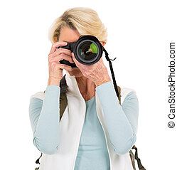 fotos, mujer mayor, toma