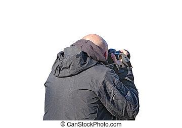 fotos, nehmen, mann, freigestellt, foto