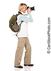 fotos, toma, 3º edad, hembra, turista