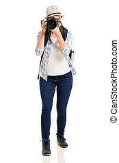 fotos, toma, joven, hembra, turista