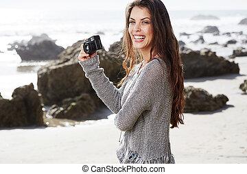 fotos, toma, mujer, hipster