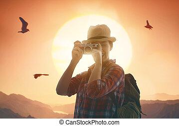 fotos, toma, mujer