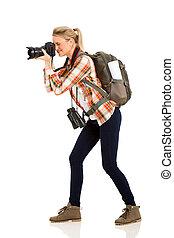 fotos, toma, turista, hembra