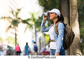 fotos, toma, viajero, ciudad