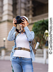 fotos, toma, viajero, hembra