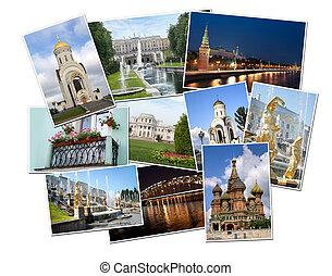foto's, van, russia., moskou, en, straat. petersburg