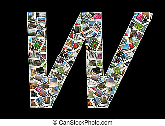 "fotos, viaje, carta, ""w""collage"
