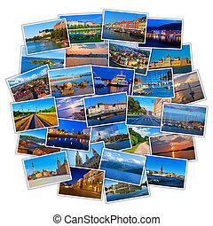 fotos, viaje, conjunto, colorido