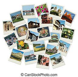 fotos, viaje, -, famoso, plano de fondo, ir, señales, bulgaria