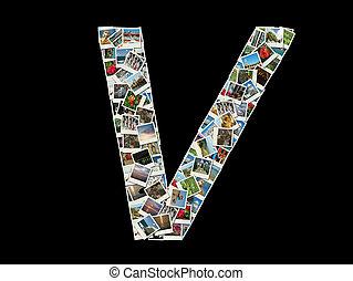 """fotos, viaje, """"v""""collage, carta"""