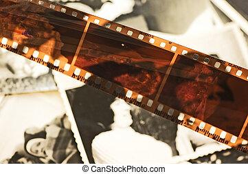 fotos, viejo, película, plano de fondo, tira