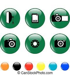 fototaste, satz, gegenstände, ikone