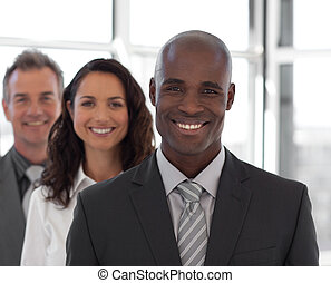 fototoestel, bedrijfspersoon, team, het glimlachen, vijf, ...