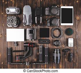fototoestel, bovenzijde, hout, tandwiel, aanzicht