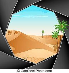 fototoestel, door, de scène van de woestijn