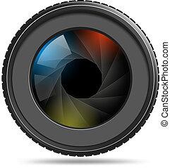 fototoestel, foto, lens, met, sluiter