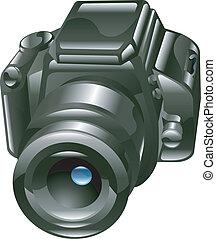 fototoestel, glanzend, illustratie, digitale