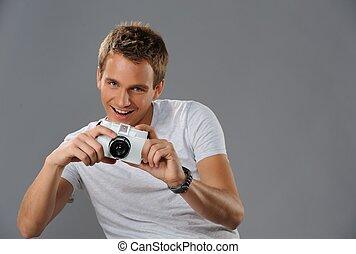 fototoestel, jonge man
