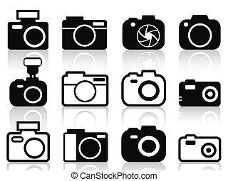 fototoestel, set, iconen