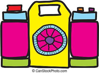 fototoestel, spotprent, kleurrijke