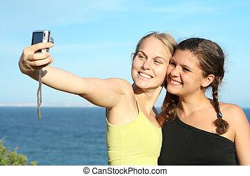 fototoestel, vrienden, vrolijke