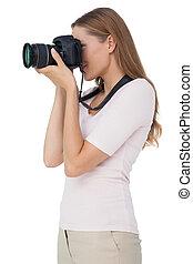 fototoestel, vrouw, aanzicht, jonge, bovenkant