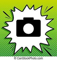 fototoestel, witte , black , popart, groene achtergrond, pictogram, digitale , teken., spots., illustration., gespetter