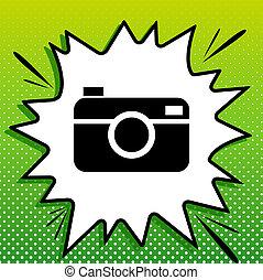 fototoestel, witte , black , popart, groene achtergrond, pictogram, teken., digitale , foto, spots., illustration., gespetter