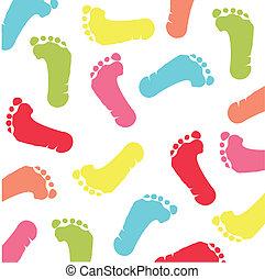 fotspår, barn, färgrik